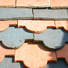 Banded hand-made roof tiles.