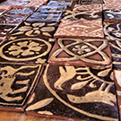 Replica Medieval encaustic tiles.